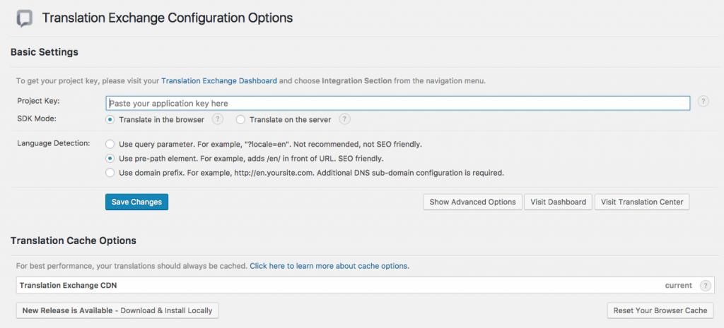 Translation WP Plugin Config